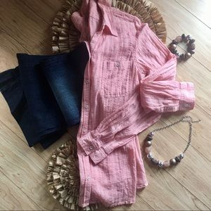 Maurices  Long Sleeve Coral Button Up Shirt
